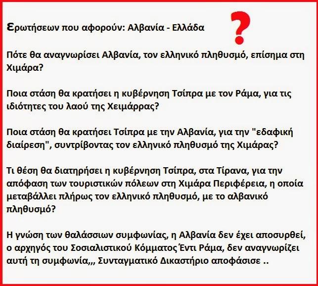 ερωτήσεων που αφορούν την Αλβανία - Ελλάδα