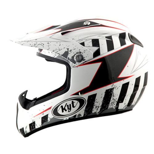 helm kyt cross moto r#1 white/grey