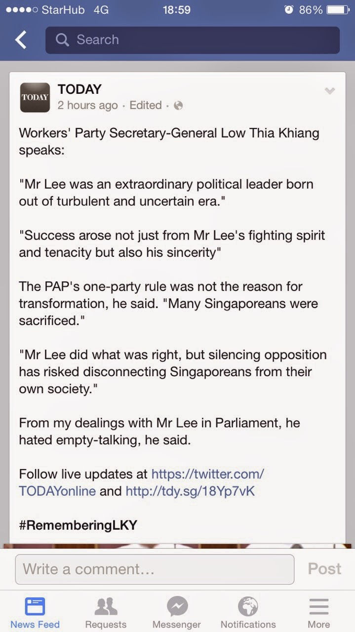 Low Thia Khiang dishonors Mr Lee Kuan Yew