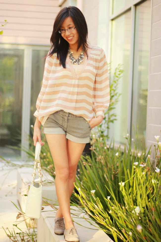 studded shorts striped top blouse casual outfits