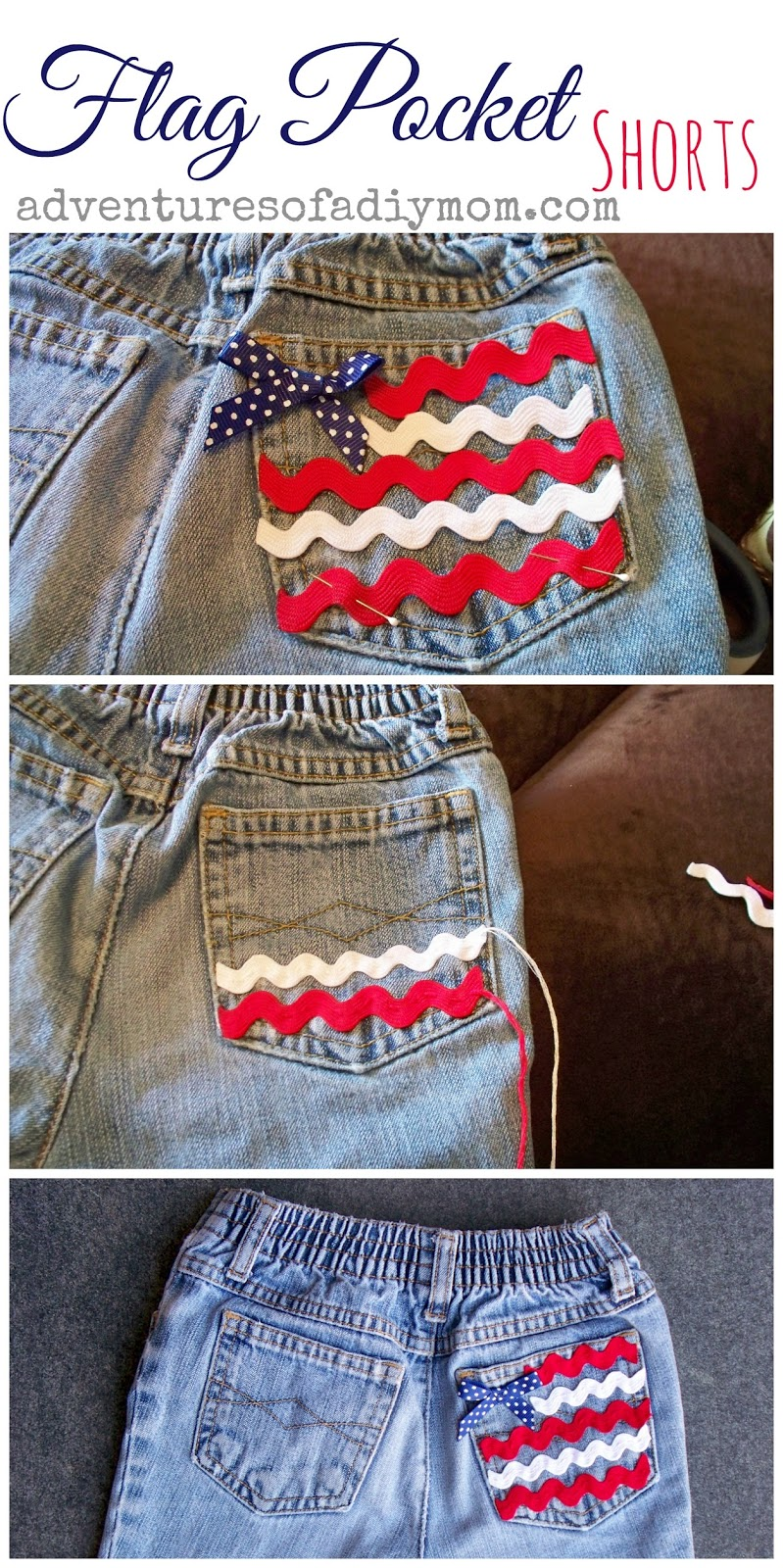 Flag Pocket - Cut Off Jean Shorts Series