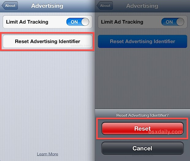 Reset Advertising Identifier on iOS