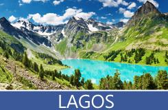 Imágenes de Lagos en diferentes partes del mundo junto a las montañas nevadas o planicies naturales