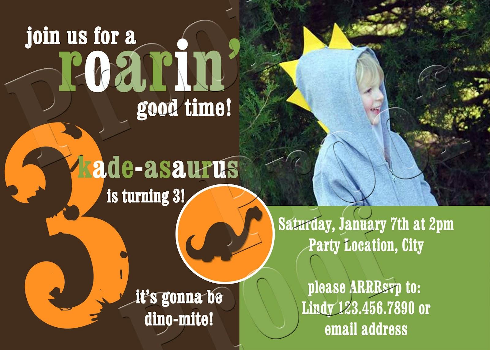Fanci Prints by Tiffany: Dinosaur - Birthday Party Invitations