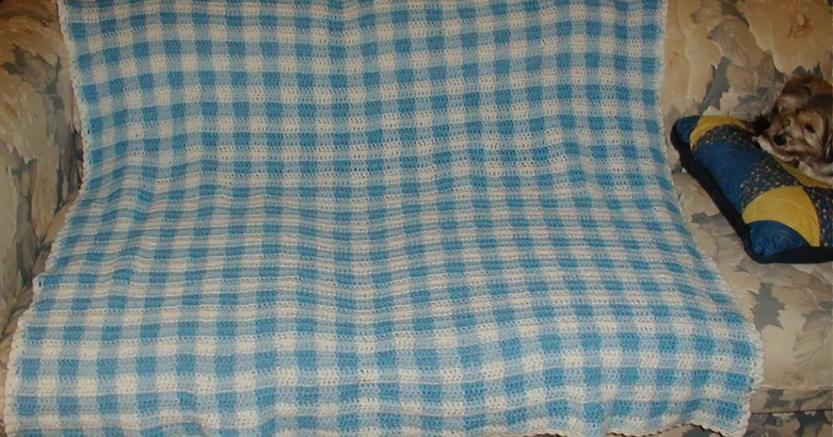 Karens Crocheted Garden of Colors: Blue and White Gingham Baby Blanket