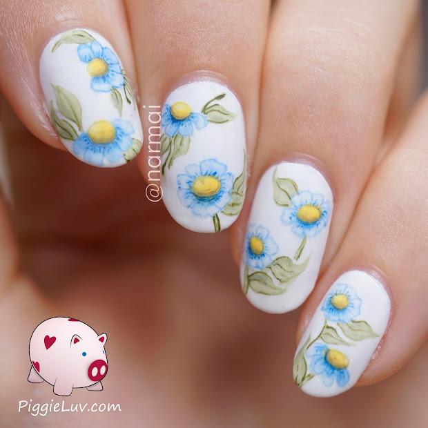 piggieluv flowers nail art