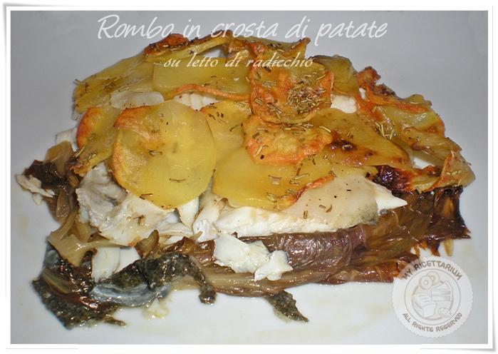 Rombo in crosta di patate su letto di radicchio