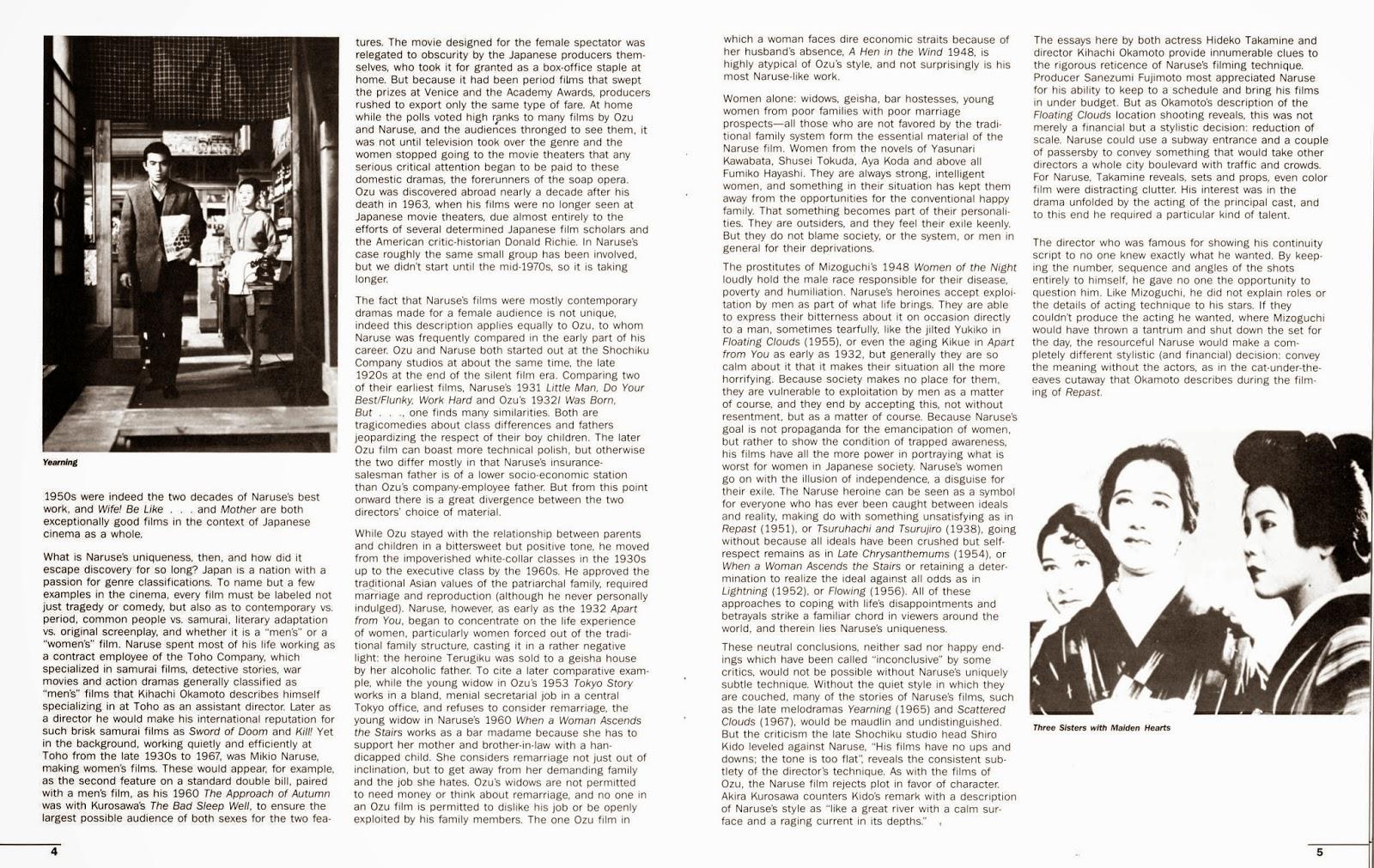 ozu films essay Adam mars-jones's essay on japanese film director yasujiro ozu goes a long way to demystifying a master enigmatically walked away from films in 1963.