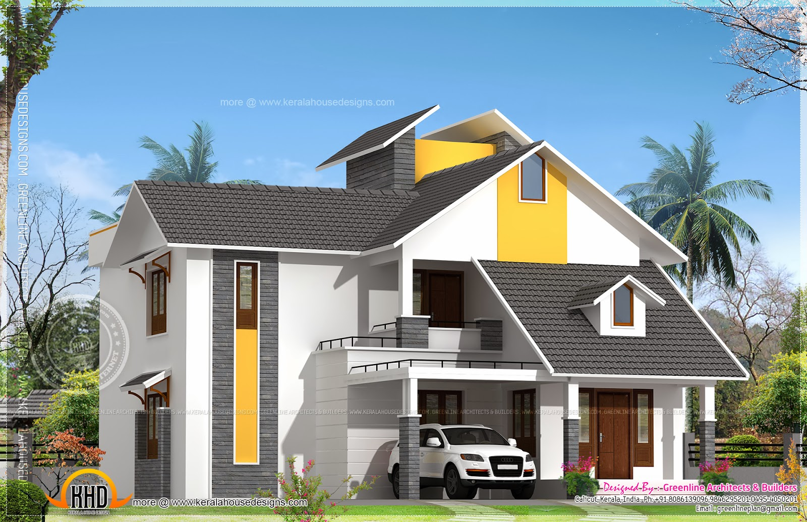 Modern sloping roof house with courtyard home kerala plans for Contemporary roof