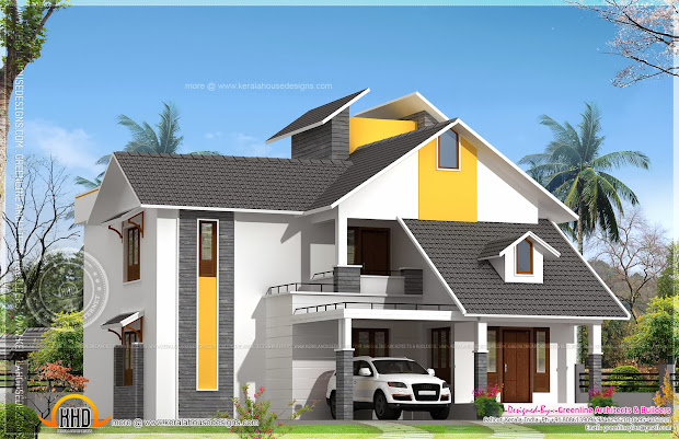 House with Sloping Roof Design