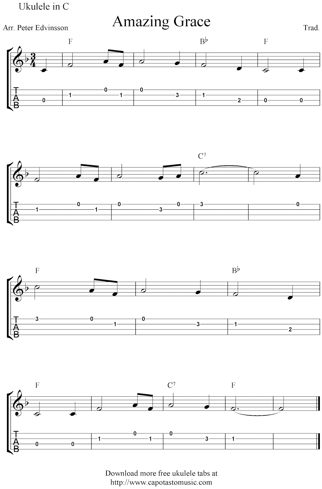 Amazing Grace, free ukulele tabs sheet music
