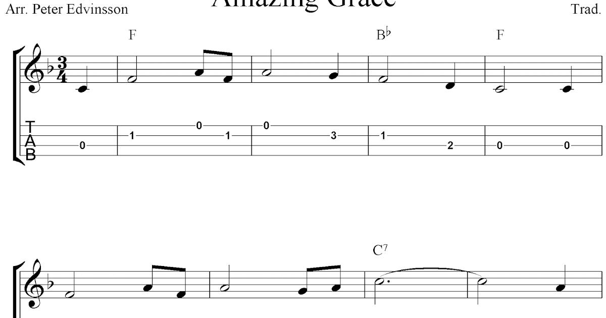 Amazing Grace, free ukulele tabs sheet music