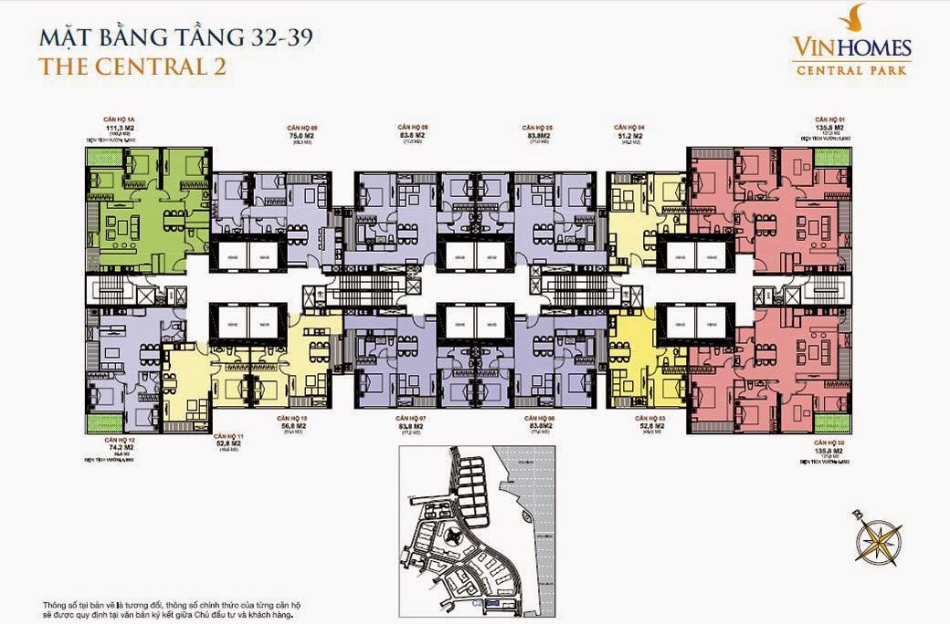 Căn hộ Vinhomes Central Park 2 - mặt bằng tầng 32 - 39