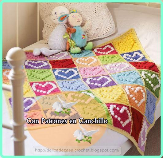 Delicadezas en crochet Gabriela: Manta infantil de corazones