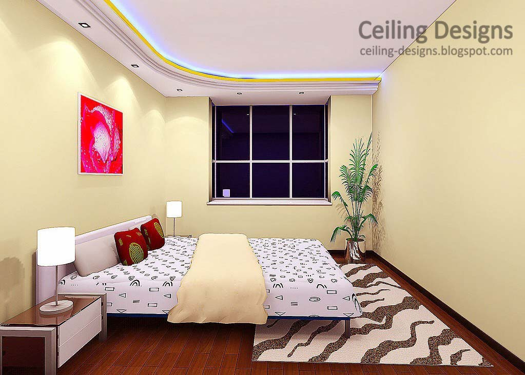 gypsum false ceiling design with hidden lighting for bedrooms