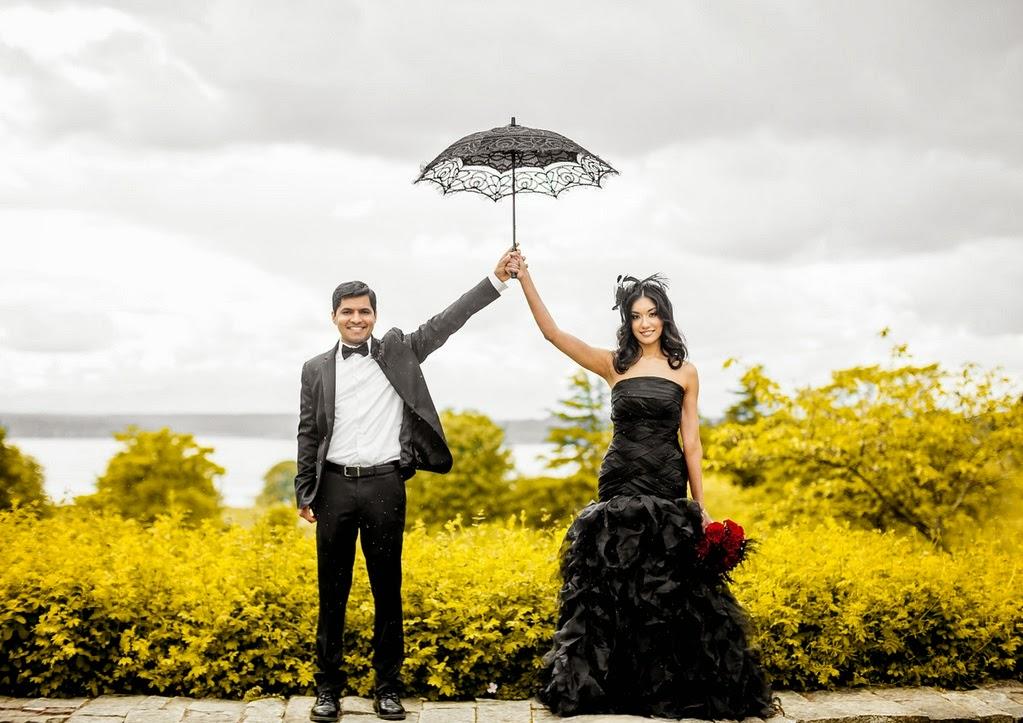 Happy Shaadi Gothic Chic Seattle Engagement Shoot