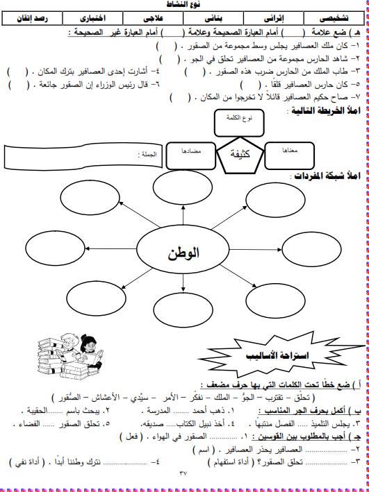 شيتات المجموعة المدرسية لمادة اللغة العربية للصف الثالث الابتدائى على هيئة صور للمشاهدة والتحميل The%2Bthird%2Bunit%2B3%2Bprime_004