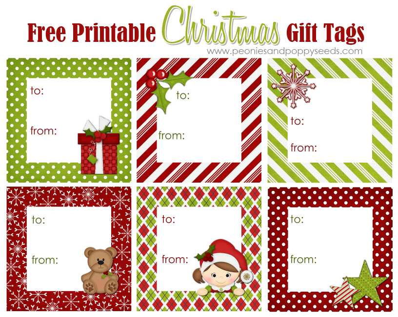 photo regarding Printable Christmas Gift Tag named Peonies and Poppyseeds: Printable Xmas Reward Tags