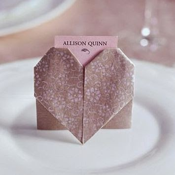 Wedding origami heart via marthastewartweddings.com