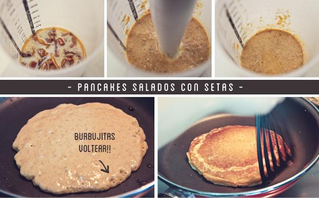 Pancakes salados con setas - receta