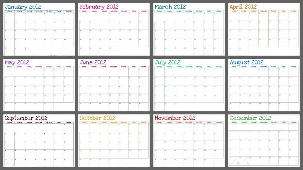 Blank Calendar Without Dates : Kiss laugh dream free printable monthly calendar