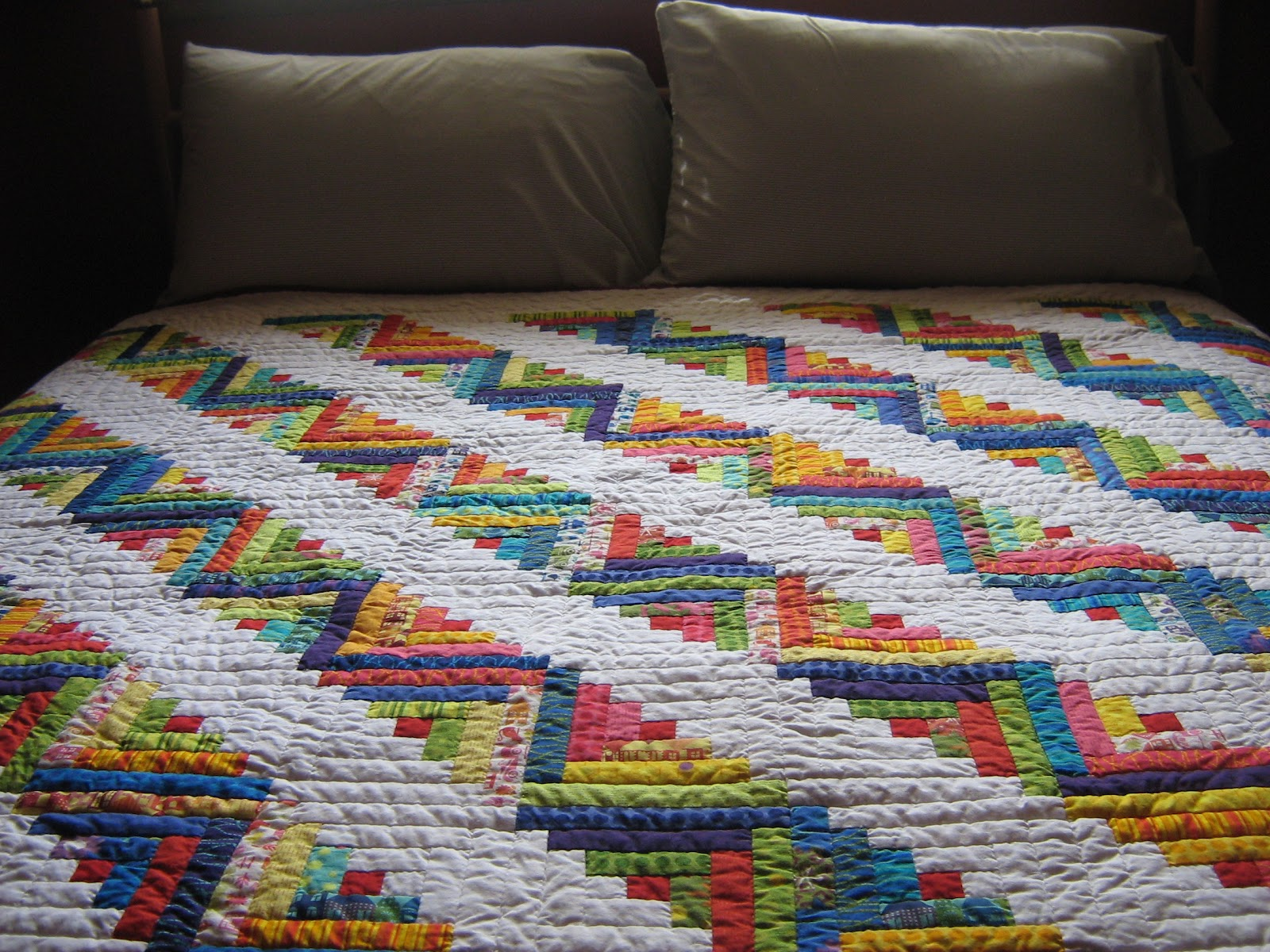 Superb img of Quilter: Michelle's Log Cabin Quilt with #9E702D color and 1600x1200 pixels