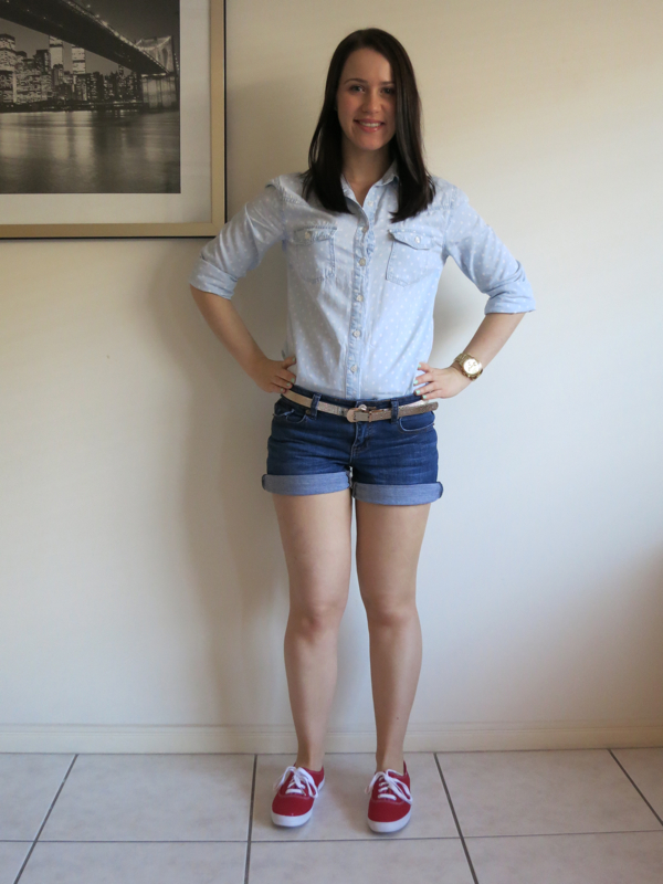 uni outfit, college outfit, taylor swift, keds, chambray shirt, denim shorts, gold watch
