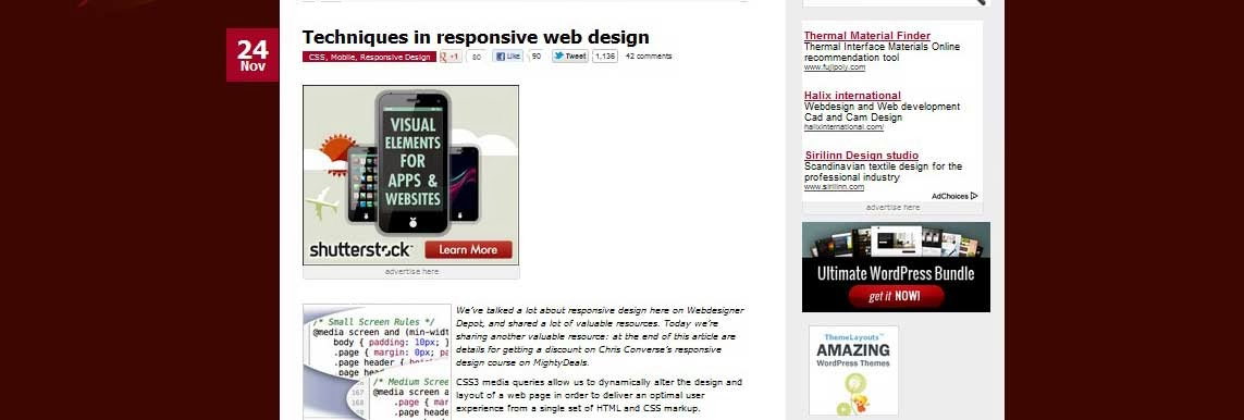 Techniques in responsive web design