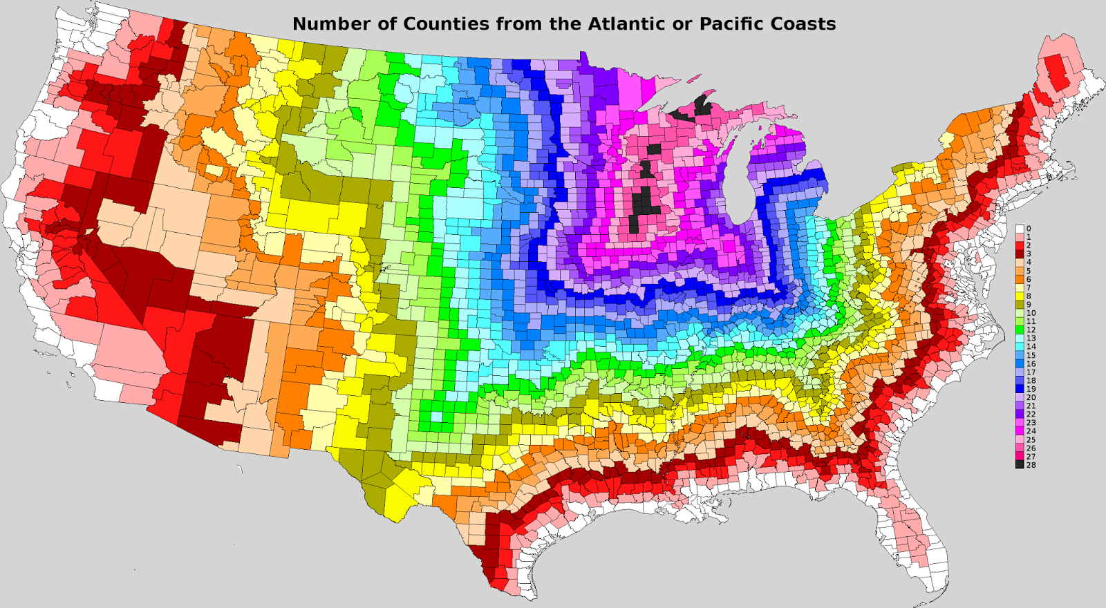 map of the us each county colored by the number of counties from the atlantic or pacific coast