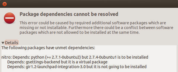 How to fix Ubuntu Package Dependencies cannot be resolved