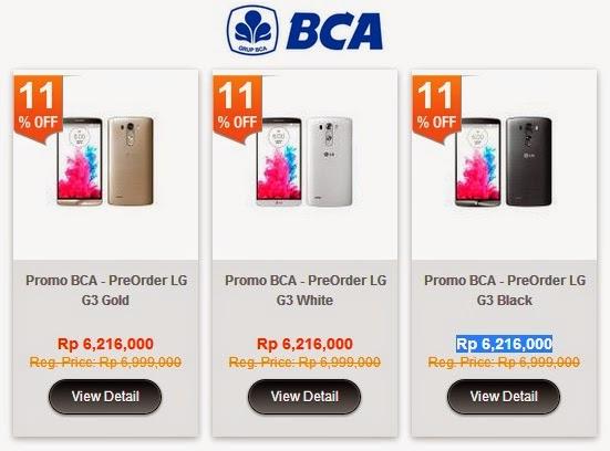 Pre-Order LG G3 di blibli com Rp 6.216.000 (Rp 518.000 x 12) dengan CC BCA