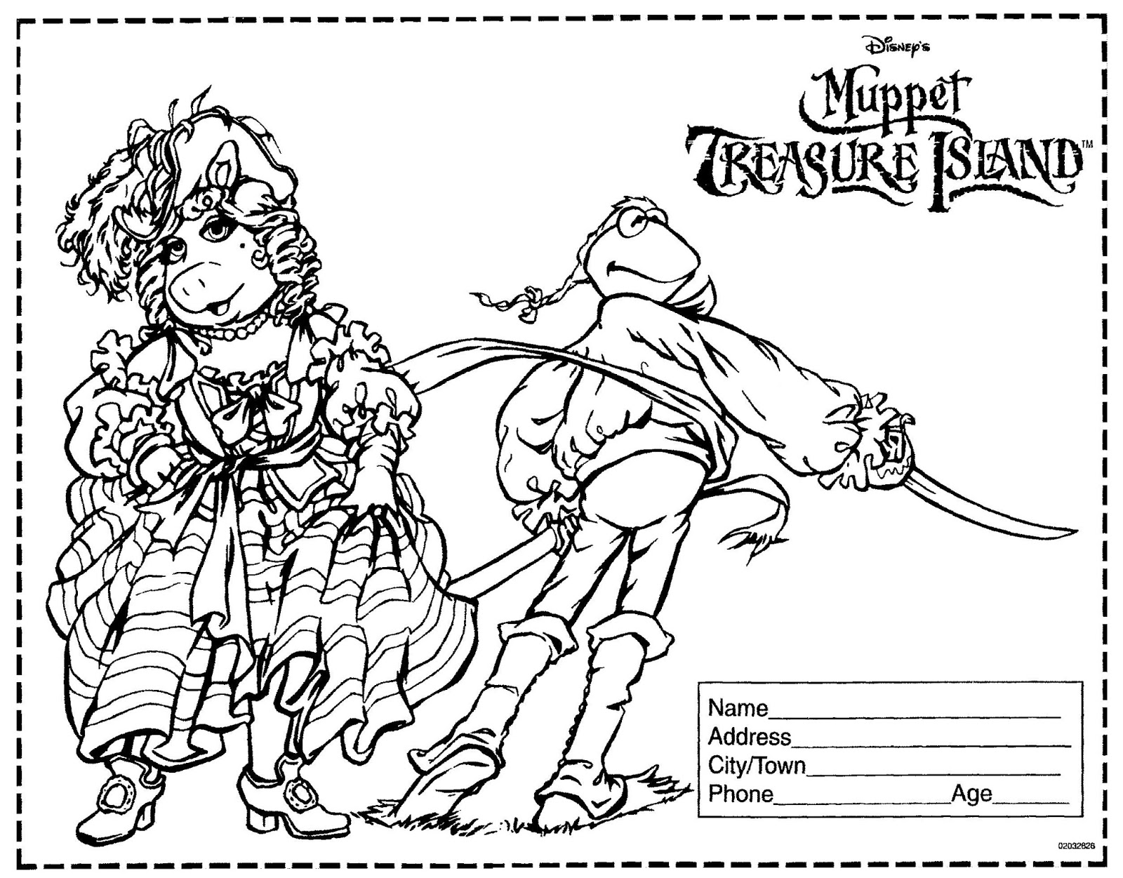 mostly paper dolls too muppet treasure island movie coloring contest