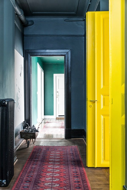 dark hallway jewel colours interiors