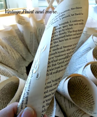 Book Page Wreath Tutorial - adding the last row.