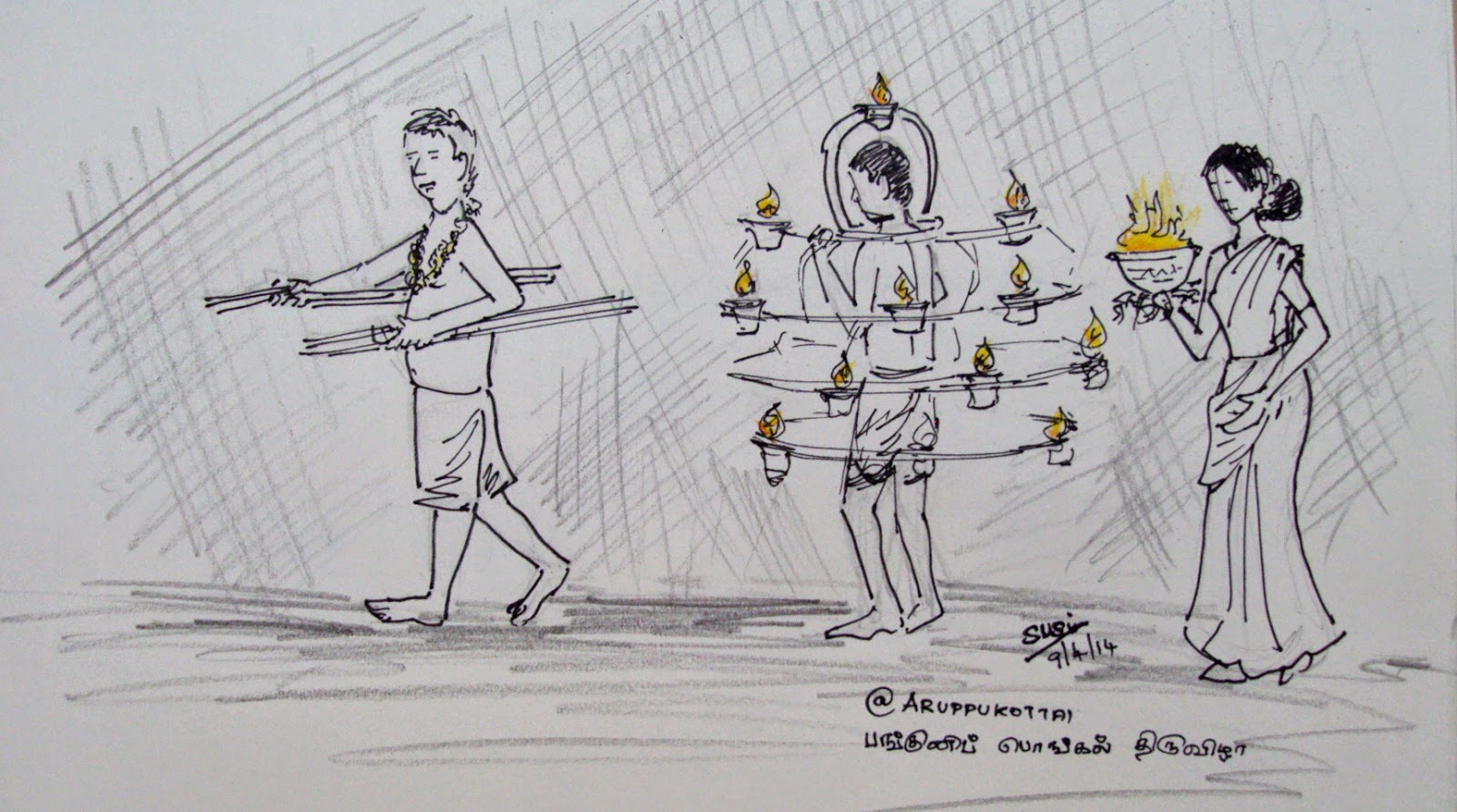 Aruppukottai panguni pongal festival quick pen and pencil sketches from the bazaar main road april 9 2014