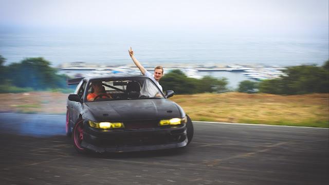 Nissan Silvia S13, sportowy japoński samochód, coupe, drifting, bokiem, JDM, przód