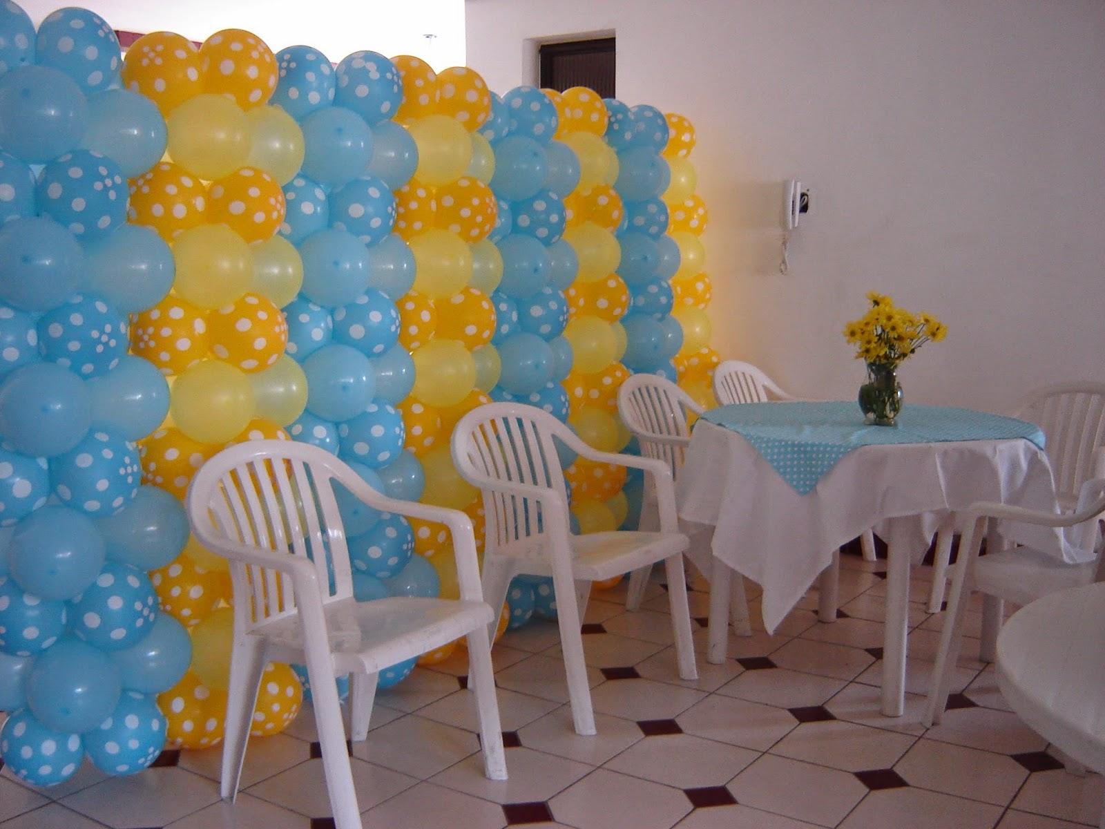decoracao azul e amarelo para cha de bebe : decoracao azul e amarelo para cha de bebe:Priscila Arte em balões: Decoração Chá de Bebê (Azul e Amarelo)