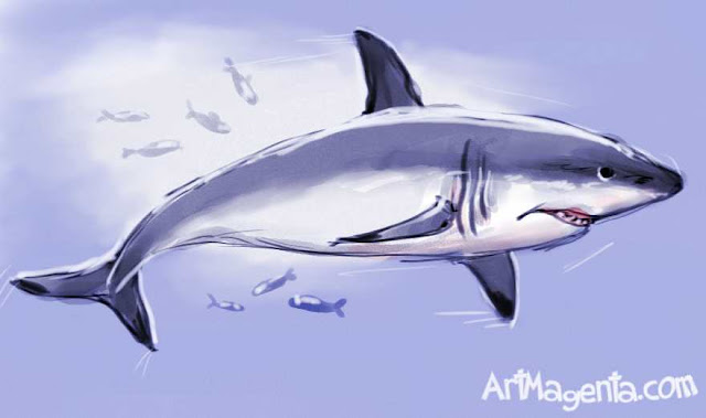 Great White Shark is a drawing by ArtMagenta