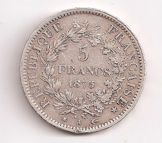1875 France 5 Francs Large silver coin KM.820.2 Circulated