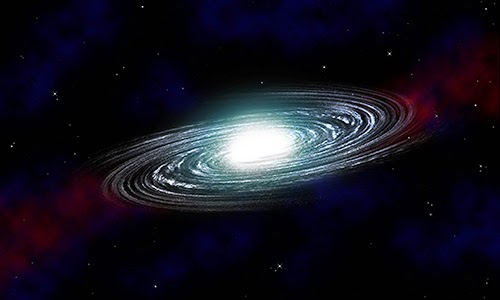 Illustration of a spiral galaxy on a star field background. The formation and evolution of spiral galaxies could be revealed by the GALAH survey.