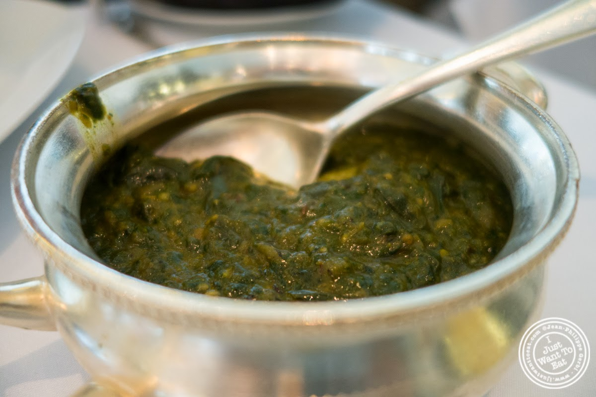 image of spinach and potatoes at Tamarind, Indian cuisine, in Tribeca, NYC, New York