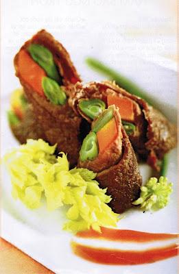 Các món ngon từ thịt bò cho mẹ bầu - Thịt bò cuộn rau củ quả