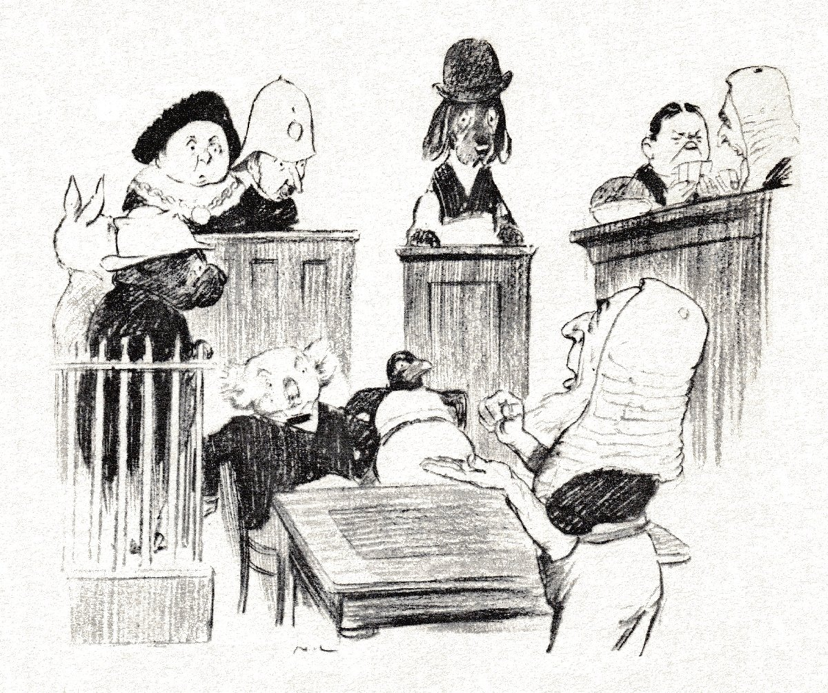 court scene : sketch of animal participants