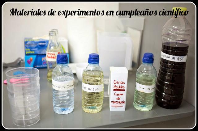 Materiales de experimentos de cumpleaños científico