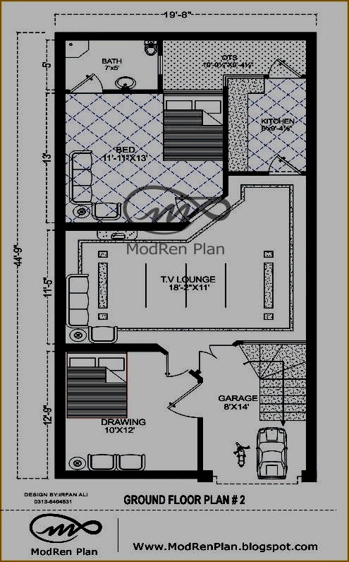 3 marla modern house plan small house plan ideas for Blueprint small house plans