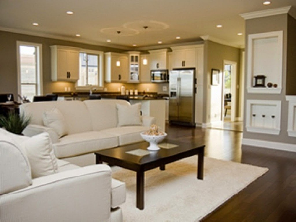Open space kitchen and living room home decorating ideas - Paint colors for kitchen and living room ...