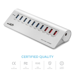 Sentey Aluminium 10 Ports USB 3.0 Hub with 3 Charging Ports 1x2.1a 2x1.0a 7-port Usb Hub 3.0 and 3-charging Ports Hub Usb Mac Style Portable or Desktop - Imac, Macbook Air, Macbook Pro, Macbook Pro , Macbook Air and Mac Mini or Any Pc or Notebooks Ultrabooks Windows 8 Tablets , Android Tablet with Usb or Microsoft Surface or Any Other Brand - Add Additional USB 3.0 Port Without Sacrifice Speed - Mini Hub - Free Transport Pouch Included