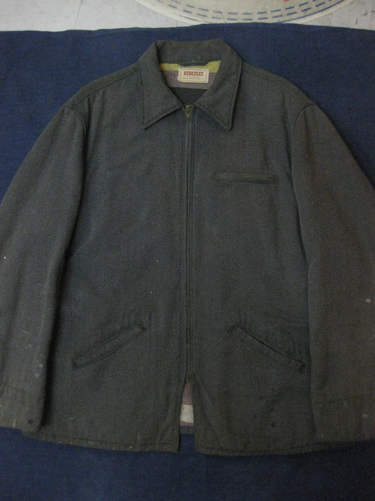 画像①                 50's 「HERCULES」                BLACK COVERT                WORK JACKET (LONG丈)