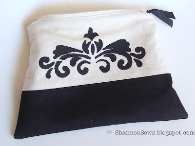 Paint stencil design on zipper pouch for additional details
