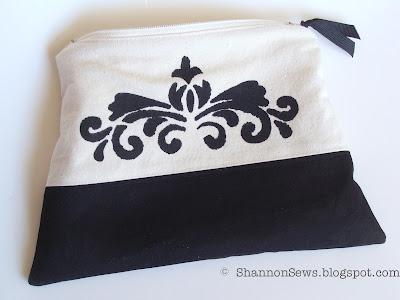Paint stencil design on zipper pouch for additional details
